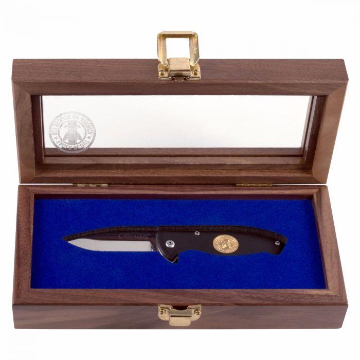 Custom Walnut Knife Box with Glass Lid & Etching