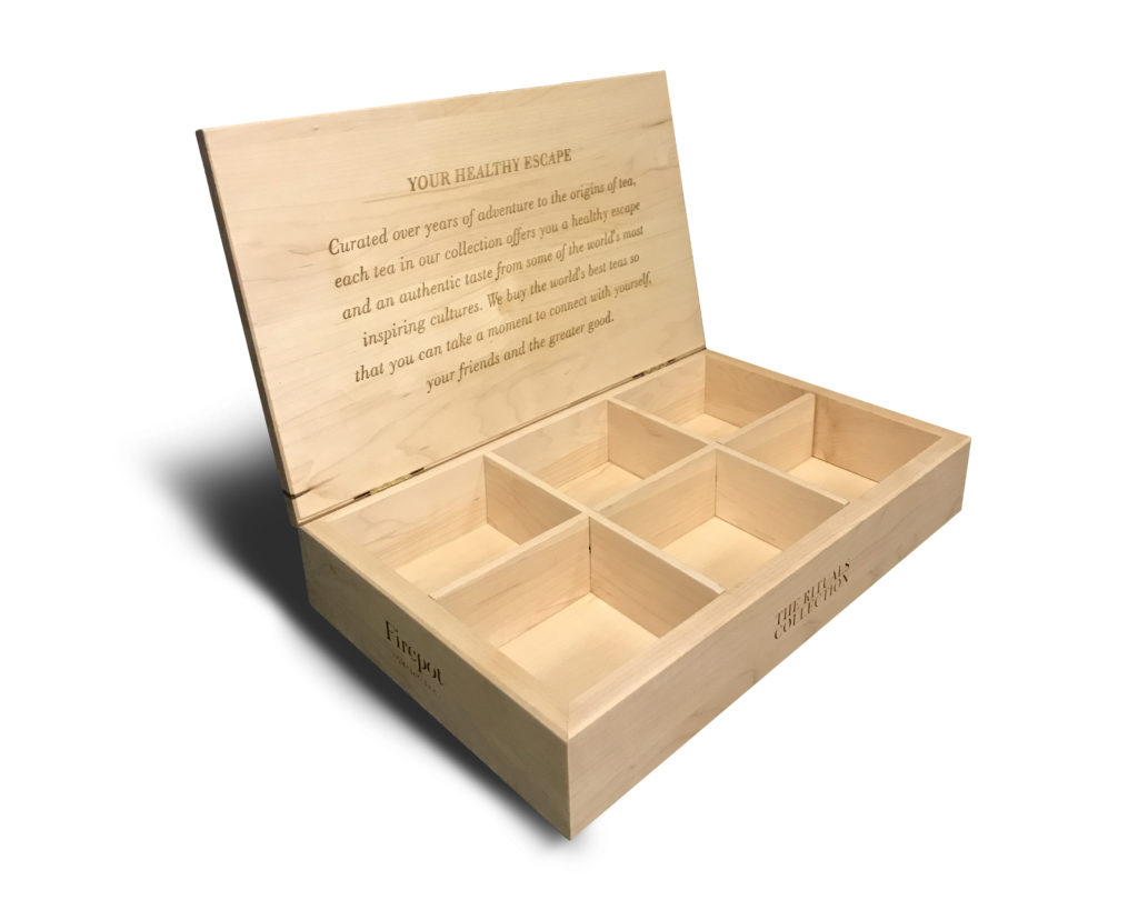 Custom Solid Maple Tea Box Display with LAser Engraving