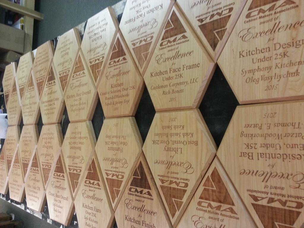 Solid Alder Plaques Coming Off Laser Engraving Bed