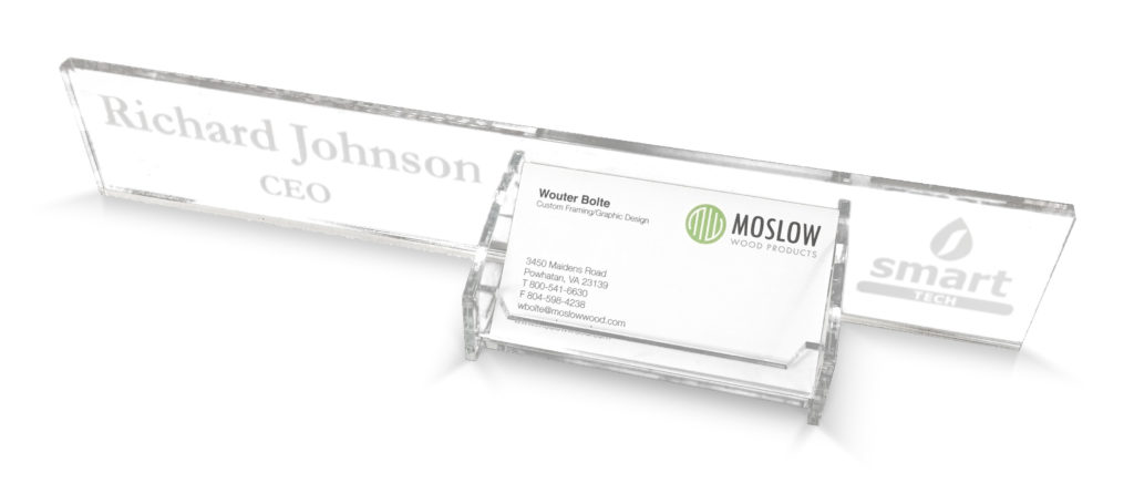 Acrylic Desk Block with Business Card Holder