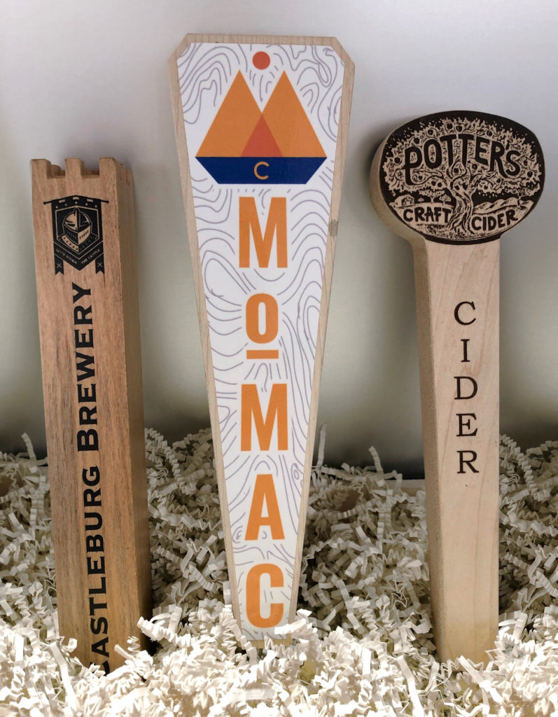 Solid Wood Tap Handles with Engraving or Sublimated Plates