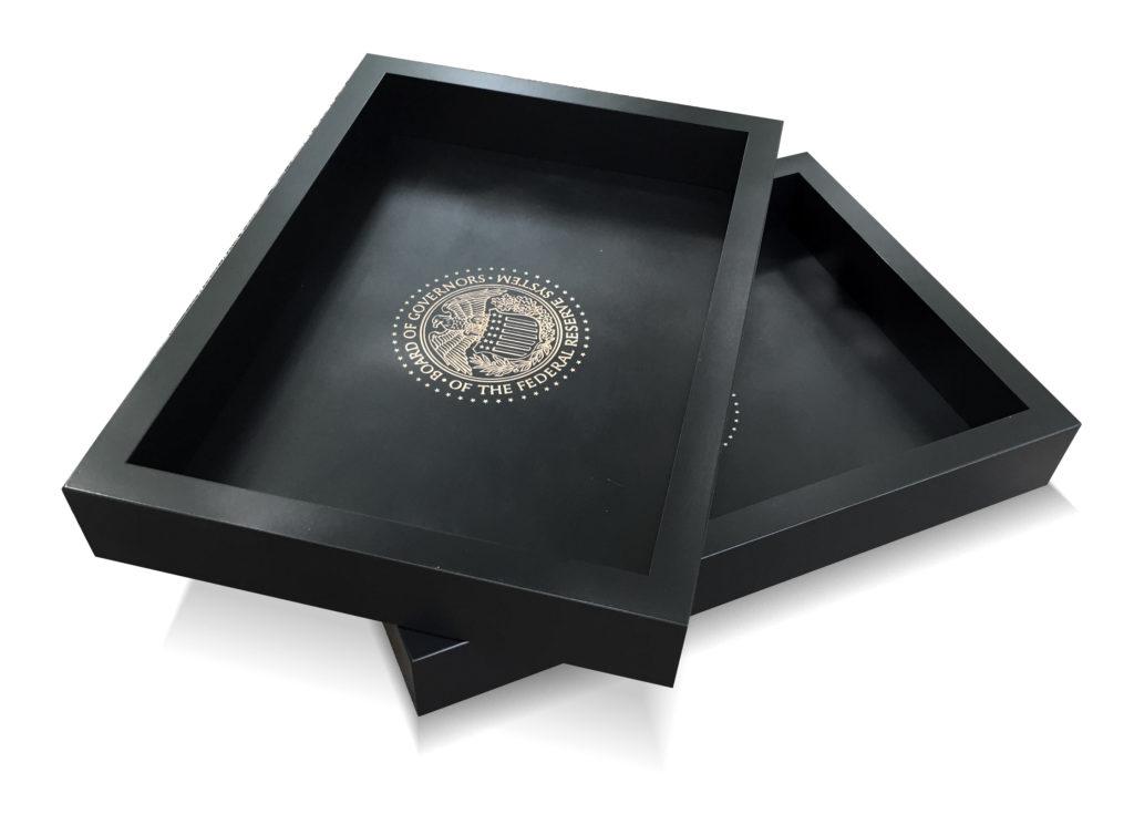 Custom Hardwood Tray Painted Black with Engraving