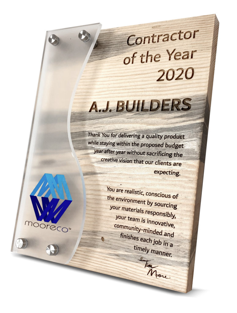 Custom Blue Pine Plaque with Frosted Acrylic and Full Color UV Printing