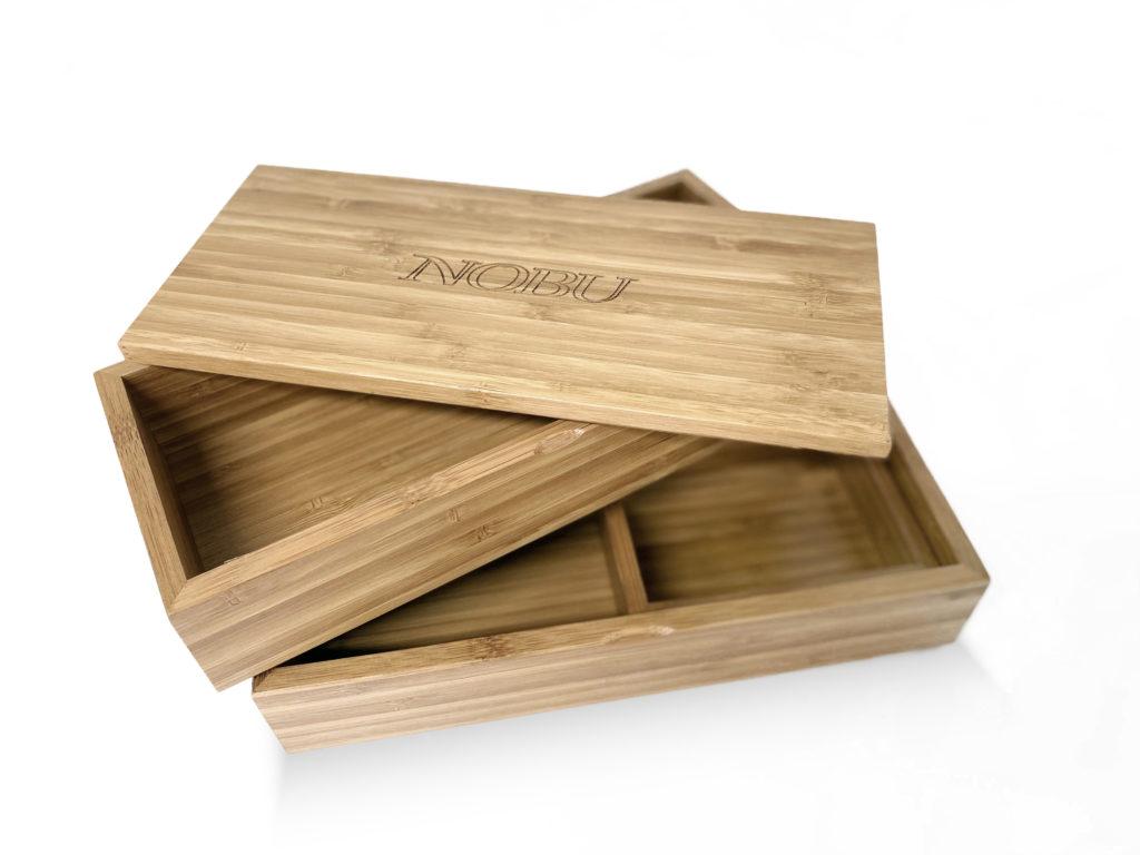 Custom amber bamboo box (open)