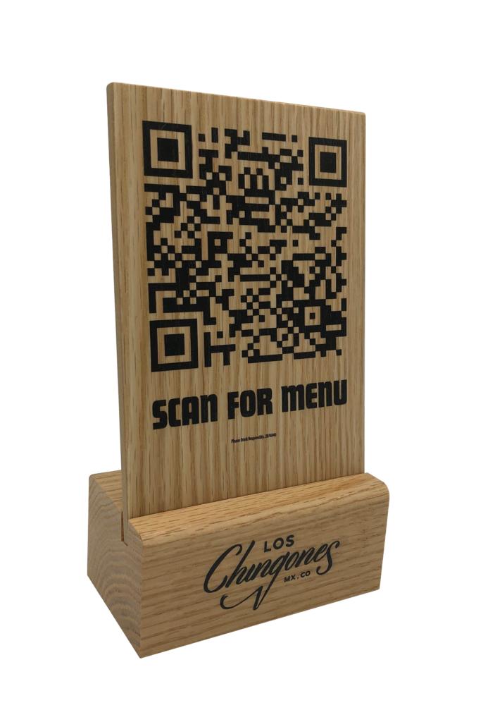 QR Code menu (solid oak base & oak veneer)